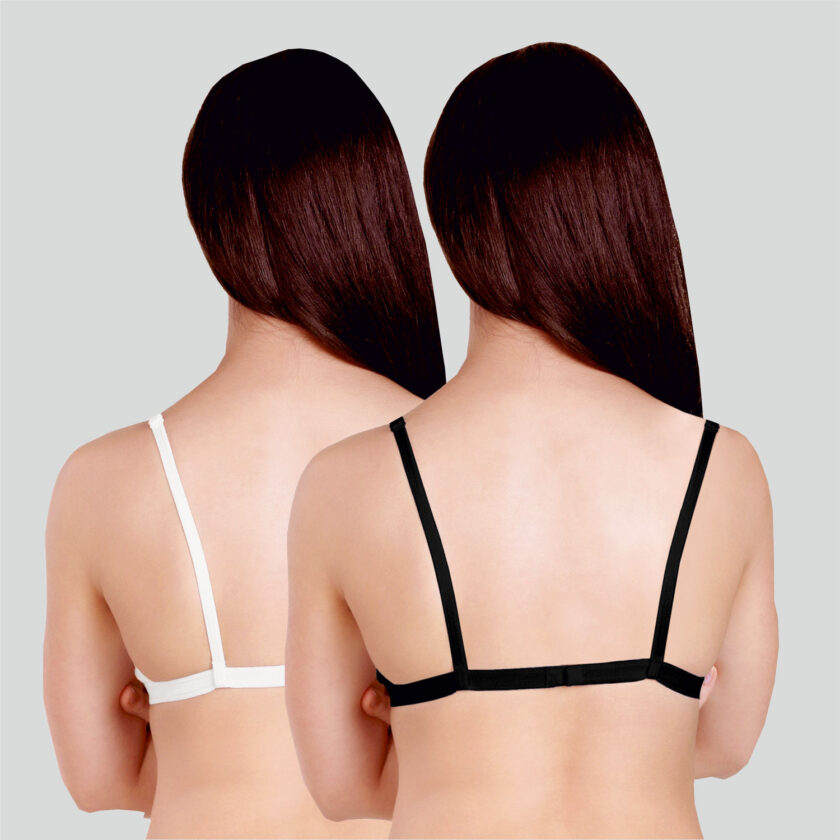 Basics Double Layered Non Wired Full Coverage Backless Bra (Pack of 2) Black White