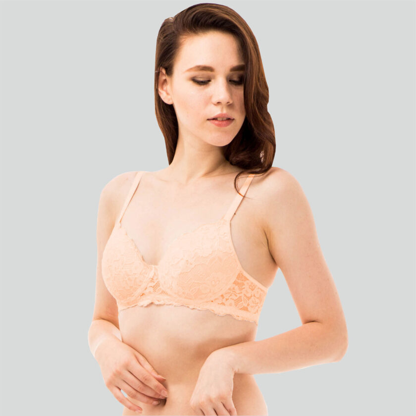 Lace Padded Non Wired 3/4th Coverage Lace Bra Black